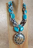 Chunky Western Cowgirl Necklace Set - Agate and Turquoise Howlite - Horse Concho