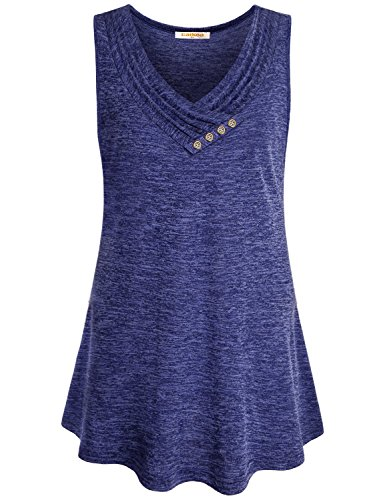 Neckline Top Sleeveless (Baikea V Neck Sleeveless Tops, Junios Summer Button V Neckline Blue Flowy Shirts Long Flowy Tank Pleated Comfy A Line Swing Tunic Blouse for Leggings XXL)