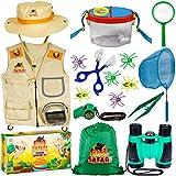 OzBSP Kids Outdoor Adventure Kit. Kids Explorer Kit. Nature Exploration Toy for Boys Girls. Bug Catching Pack. Safari Vest & Hat Costume, Binoculars, Tweezers, Magnifying Glass, Butterfly Net, Compass