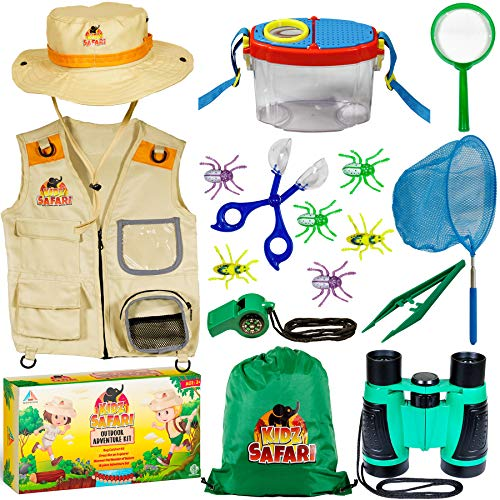 Bug Collection Kit (OzBSP Kids Outdoor Adventure Kit. Kids Explorer Kit. Nature Exploration Toy for Boys Girls. Bug Catching Pack. Safari Vest & Hat Costume, Binoculars, Tweezers, Magnifying Glass, Butterfly Net,)