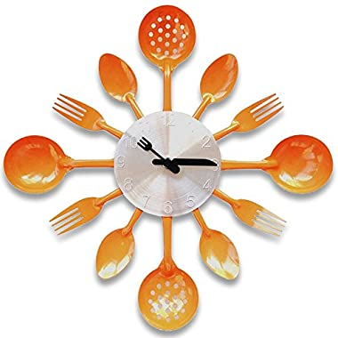 ZHPUAT 14 Inch Stainless Steel Housewares Cutlery Indoor/Outdoor Wall Clock Orange