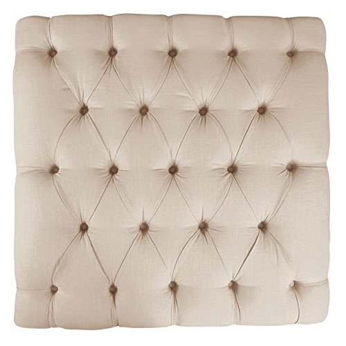 Skyline Furniture Tufted Cocktail Ottoman in Linen Talc Room Accent Custom Upholstered Furniture