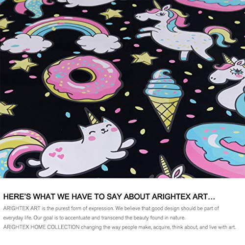 ARIGHTEX Chubby Unicorn Bedding Kids Girls Cute Unicorn in Rainbow Sprinkles Donut Pattern Duvet Cover 3 Piece College Dorm Sweet Bed Sets (Full) by ARIGHTEX (Image #2)