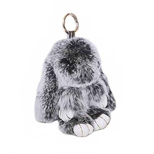 RitzyBay Handmade Bunny Rabbit Fur Keychain for Women's Bag Charms or Car Pendant (Large, SnowtopBlack)