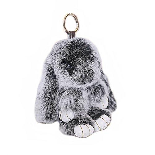 RitzyBay Handmade Bunny Rabbit Fur Keychain for Women's Bag Charms or Car Pendant (Small, SnowtopBlack)