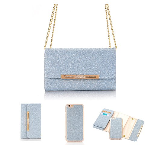 (elecfan iPhone Clutch Case 8 Plus Women Color PU Leather Stand Cover Flip Lady Multi Envelope Package Handbag Clutch Wallet Case with Cards Slots Cards Holder (iPhone 8 Plus, Blue))