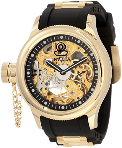 Invicta Men's 1844 Russian Diver Mechanical Gold Tone Skelton Dial Black Polyurethane Watch