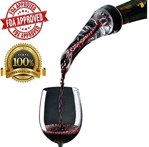 Aolvo Wine Aerating Pourer Spout Food Grade Aerator Tiny Air Funnel Superior Aeration for Whiskey Bourbon Brandy Liquor Decanter Red Wine Bottles, Eagle Beak Shaped, 16cm/6