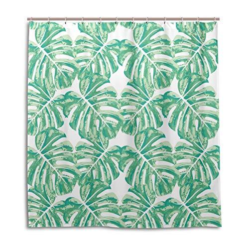Amanda Billy Banana Leaf Print Green Scarf Natural Home Shower Curtain, Beaded Ring, Shower Curtain 72 x 72 Inches, Modern Decorative Waterproof Bathroom Curtains