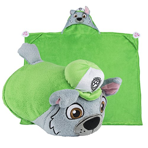 [Comfy Critters Paw Patrol Cartoon Character Hooded Blanket that Folds into a Pillow, Rocky] (Last Minute Halloween Costumes For Babies)