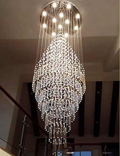"""7PM W28"""" X H78"""" Modern Contemporary Crystal Chandelier Round LED Rain Drop Lamp for Hall Way Hotel Staircase Flush Mount Lighting Fixture"""