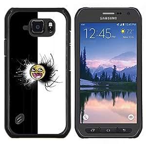LECELL--Funda protectora / Cubierta / Piel For Samsung Galaxy S6Active Active G890A -- Negro y blanco impresionante Meme Cara --