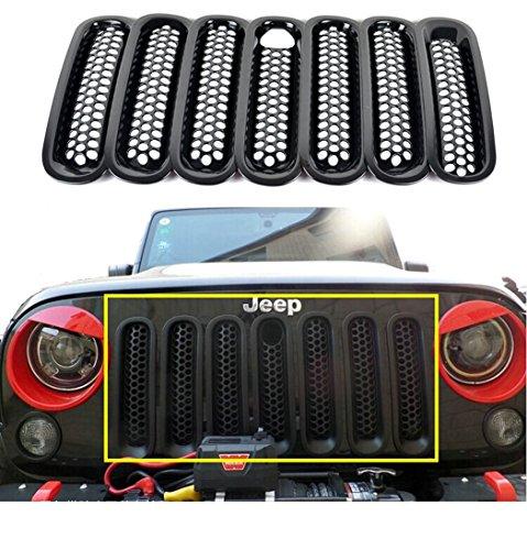 Opar Black Front Mesh Grille Insert with Key Hood Lock for 2007-2015 Jeep JK Wrangler & Wrangler Unlimited (Pack of 7)