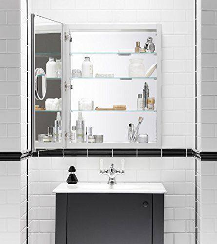 24 inch by 30 inch slow close medicine cabinet with magnifying mirror