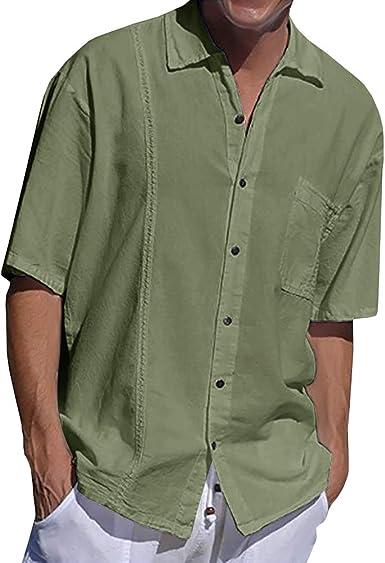 Esast Men Fashion Linen Shirts Cotton Short Sleeve Button Down Shirts Regular Fit Beach Shirt