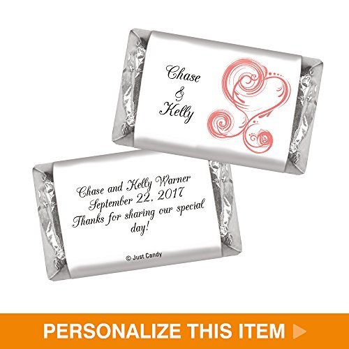 HERSHEY MINIATURES Wrappers Wedding Favors Heart Theme (100 Wrappers) - Pink - Heart Wedding Hersheys Miniatures