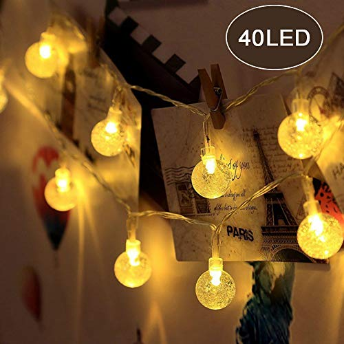 Jijie Bubble Globe String Lights, 23ft 40 LED Crystal Ball Fairy Lights for Christmas Trees,Home,Patio,Lawn,Garden,Party,Wedding and Holiday(Warm White) by Jijie