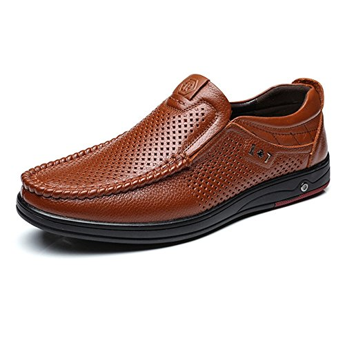 Easy Go Shopping Leather Shoes, Classic Men's Genuine Leather Shoes Slip-on Breathable Perforation Soft Flat Sole Loafer Brown