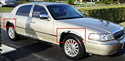 2003 2004 2005 2006 2007 2008 2009 2010 2011 LINCOLN TOWN CAR CHROME STAINLESS STEEL FENDER TRIMS (4 PCS)