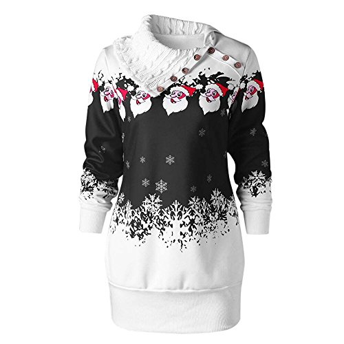 iYBUIA Womens Christmas Santa Claus Snowflake Print Button Plus Size Tunic Sweatshirt Straight Dress