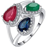 Fashion 925 Silver Emerald Ruby Three-Stone Ring Wedding Bridal Jewelry Sz 6-10 (6)