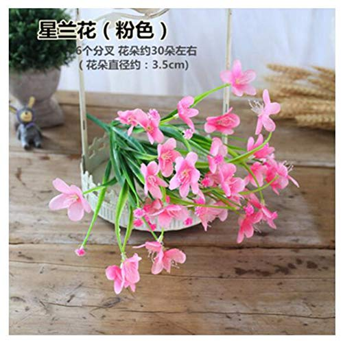 (JIAHUAHUHH Single Bundle of European Artificial Flowers, Fake Flowers, Single Decorative Silk Flowers,Star Orchid Pink,35cm)