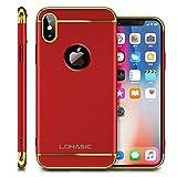 iPhone X Case, Slim Grip Luxury Shockproof Bumper Hard Matte Back Design Anti-scratch Anti-slip Fingerprint Thin Fit Protective Cute Cover for Apple iPhone X - Red/Gold