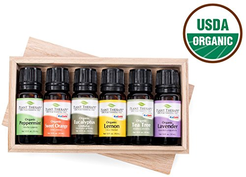 Plant Therapy Top 6 USDA Certified Organic Essential Oils, 10 ml each.