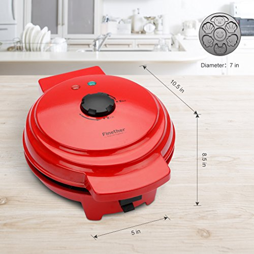Finether Waffle Maker Machine, Multi-Plate Waffle Iron, Mini 3-in-1 Non-Stick Snack Maker Adjustable Temperature, Easy to Clean, Cord Wrap & Cool Touch Handle, Red by Finether (Image #3)