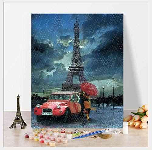 Hcffch DIY Digital Painting Rain Paris Suitable for Bedroom Living Room Sofa Wall Hand-Painted Decorative Painting 40X50Cm (Le Sofa Paris)