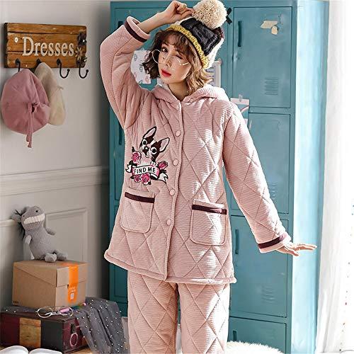 De L Servicio Ocio Fleece 2 M E Engrosado Otoño Baijuxing Coral Franela Pijamas Invierno Conjunto Mujeres Domicilio A Deportes Piezas Para Caliente Suave O6BwY