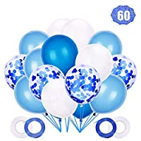 LAKIND Blue Confetti Balloons,60 Pieces 12 Inches Blue and White Confetti Balloons Latex Helium Balloons Party Supplies for Wedding Birthday Baby Shower Party Decoration(60pcs)