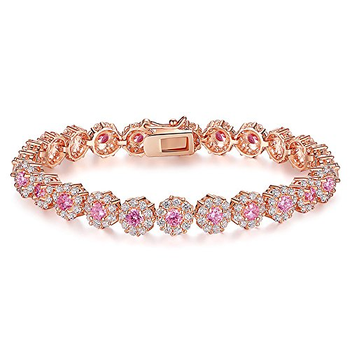 AAA Cubic Zirconia Stones Rose Gold Plated Tennis Bracelets Diamond Bangle Jewelry for Women Christmas (Bracelet Austrian Pink Crystal)