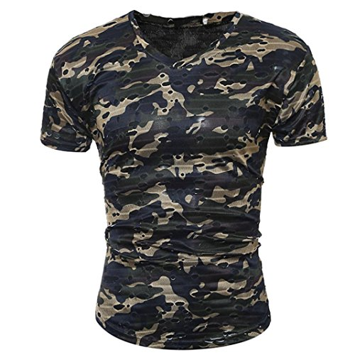 Bluestercool Fashion Casual Hommes T-Shirt Manches Courtes Camouflage Tops Armée verte