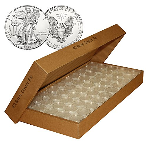 25 Direct Fit Airtight 40.6mm 40mm Coin Holders Capsule For 1oz AMERICAN SLVER EAGLE with BOX ()