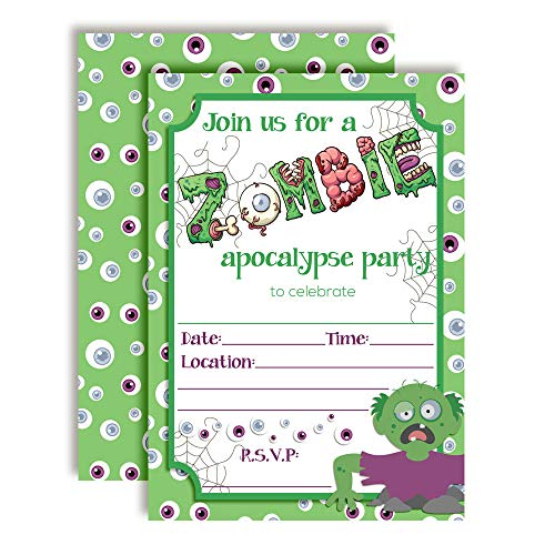 Zombie Apocalypse Halloween Birthday Party Invitations, 20 5