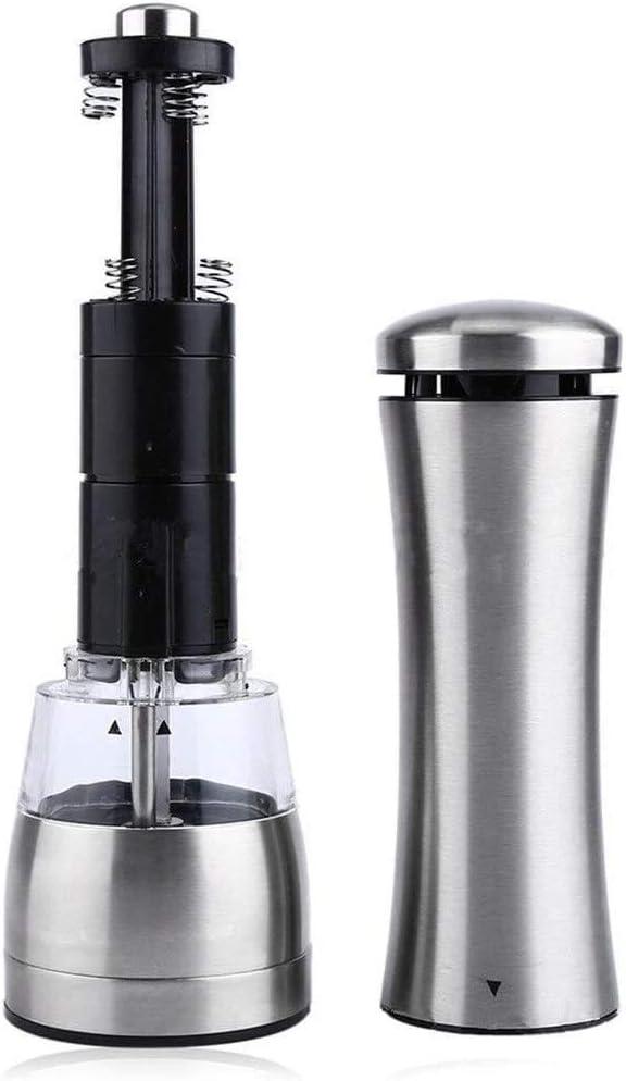 Jszzz Cruet Mill Moulin /à Poivre sel r/églable en Acier Inoxydable Moulin /à Poivre /électrique Automatique Moulin Shakers Outils Smashing Color : Silver, Size : 6.5x21.5cm