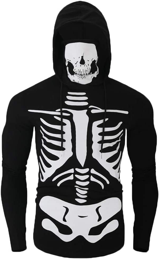 Boy Men Realistic 3D Print Hooded Sweatsirt Plus Size Mask Skull Halloween Hoodie Pullover Loose Casual Long Sleeve Blouse