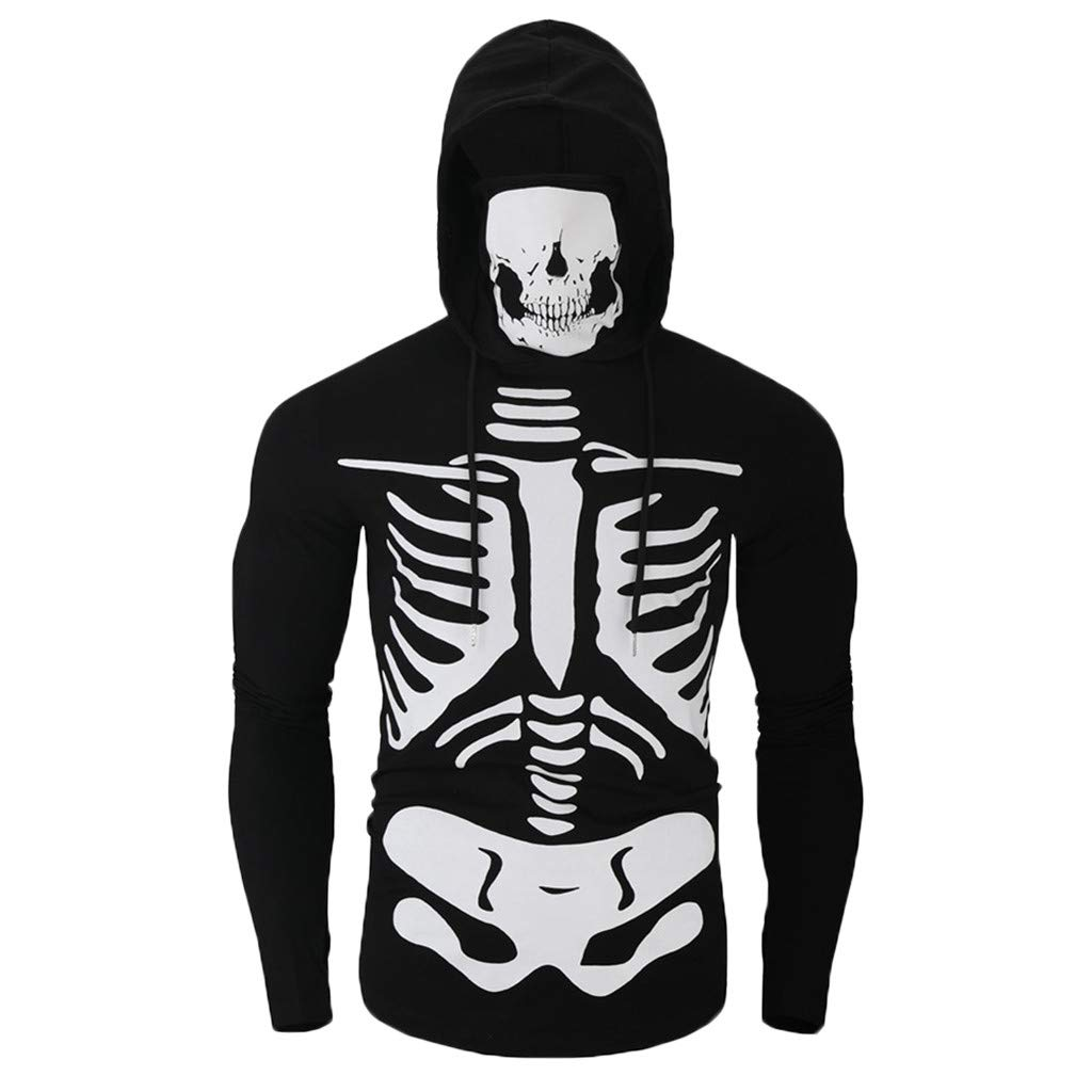 Funnygals - Mens Hoodie Sweatshirts, Workout Bodybuilding Fitted Muscle Slim Tops Blouse Skull Sweatshirt with Face Mask Black by Funnygals - Clothing