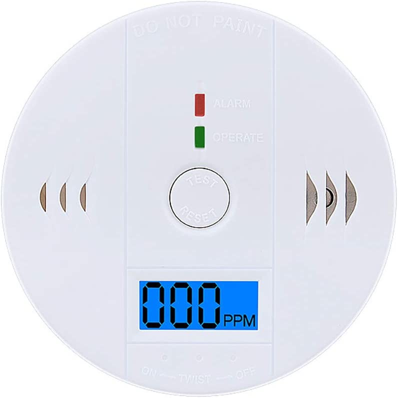 VEVICE Carbon Monoxide Detector CO Alarm Detector with LCD Digital Display High Sensitive Battery Operated Gas CO Monitor Sensor for Kitchen Home Office Security Device White,1Pcs