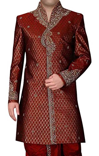 INMONARCH Mens Ornamental Short Sherwani IN297 54XL Maroon by INMONARCH