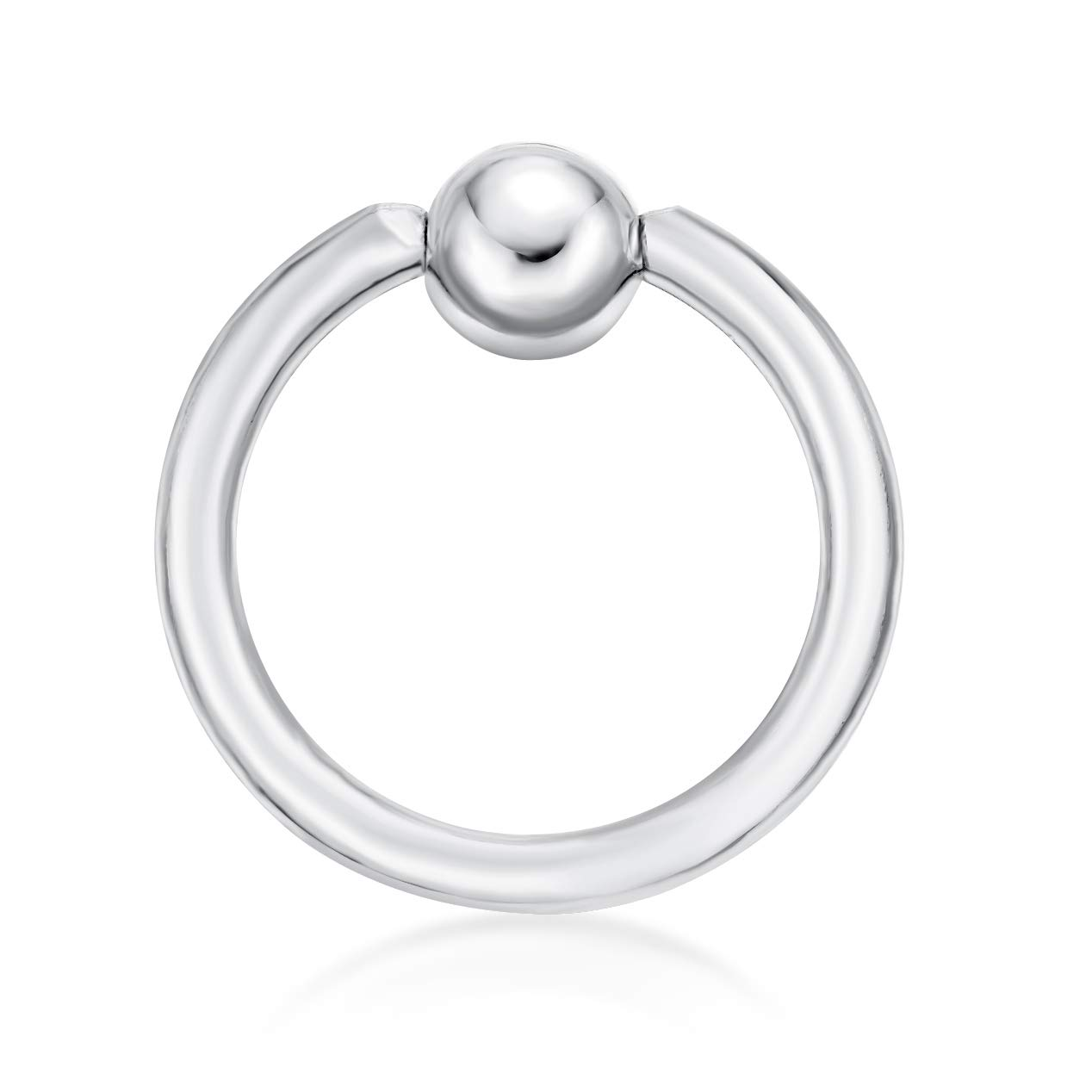 Lavari - 14K White Gold Captive Bead Hoop Lip Eyebrow Cartilage Tragus Nose Ring 16G by Lavari Jewelers