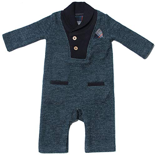 Fore! Axel and Hudson Baby Romper L/S Tri-Blend Teal French Terry Shawl Collar Romper (12/18M)