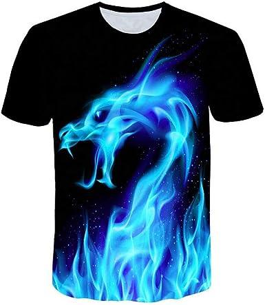 XuanhaFU Camisetas Hombre Fénix de Fuego de Impresión Manga Cortos ...