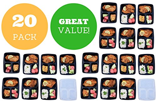 3 Compartment Reusable Food Prep Containers with Lids, Bento Lunch Box, Microwave and Dishwasher Safe (20 Pack)