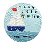 Premium Fleece Round Baby Milestone Blanket Blue Sailboat for Newborn to One Year 37''