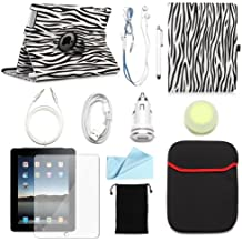 BUNDLE OFFER ARION iPad 2/3/4 11-Item Accessory Bundle Kit for Apple iPad 2/3/4 - 360 Rotating Stand PU Leather Case, Screen Protector, Cleaning Cloth, Stylus Pen,Car Charger,USB Lightning Sync Cable, Aux Cable, Earphone, Wire-holding Box, Sleeve Case, Drawstring Travel Pouch (Black & White Zebra, Leather case will only fit Apple iPad 2/3/4)