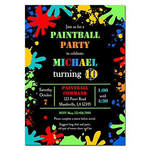 Paint Ball Party Invitation - Paintball Birthday Party