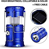 Durable Collapsible LED Lantern Solar Flashlights | Tent Light Gear Accessories Equipment for Hiking, Outdoor, Emergencies + Charger Cable