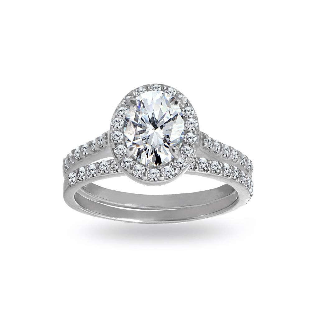 Sterling Silver Cubic Zirconia Oval-cut Halo Bridal Wedding Band Engagement Ring Set, Size 6
